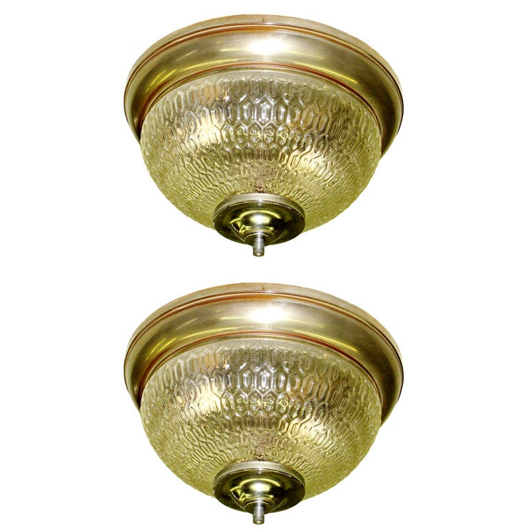 Two French Mid-Century Textured Glass Flush Mount Fixtures