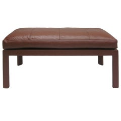 French Mid-Century Leather Covered Bench in the Style of Pierre Lottier