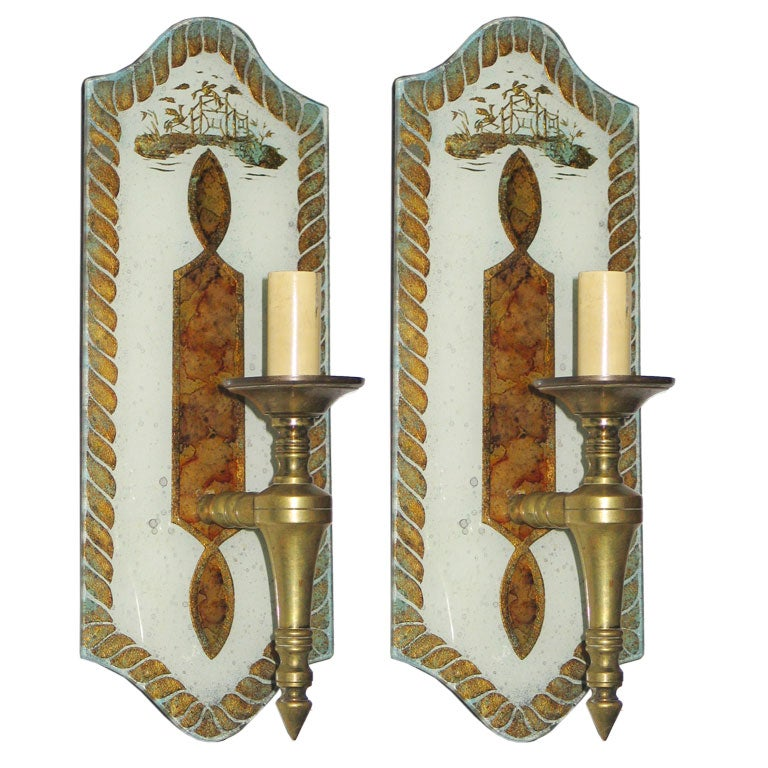 Exceptional Pair of Verre Églomisé Sconces by Maison Jansen