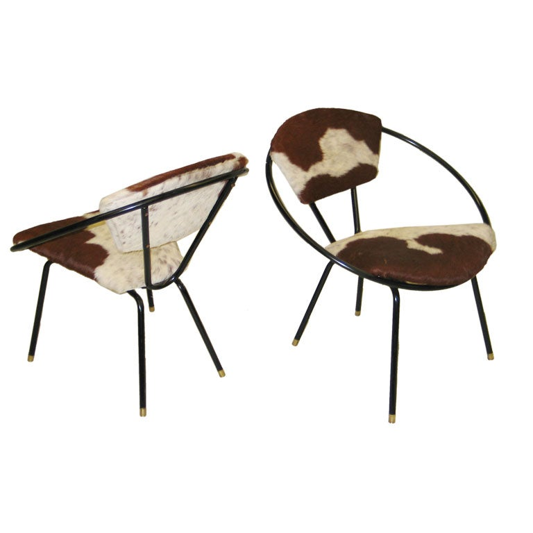 Pair of French Mid-Century Modern Cowhide Lounge Chairs, Spirit of Jean Royère 1