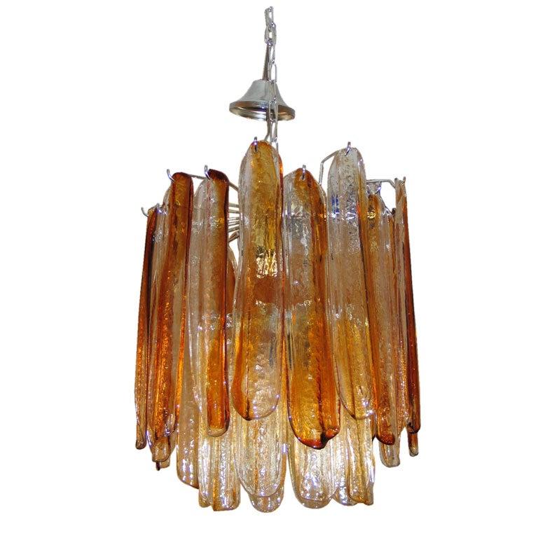 Italian Mid-Century Modern Amber Murano /Venetian Glass Chandelier by Mazzega