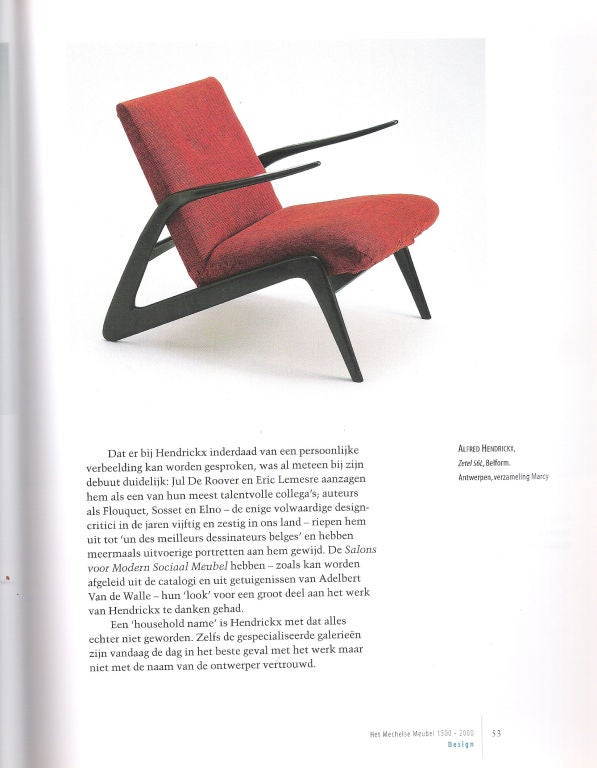Important Pair of Belgian Mid-Century Modern Lounge Chairs by Alfred Hendrickx 8