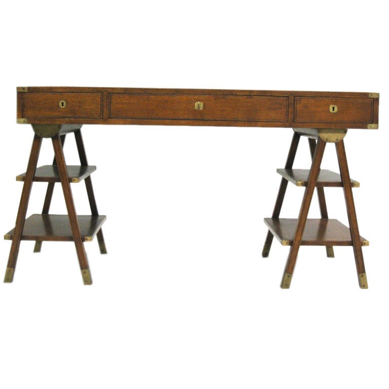 French MidCentury Modern Marine Navigators Campaign Desk For