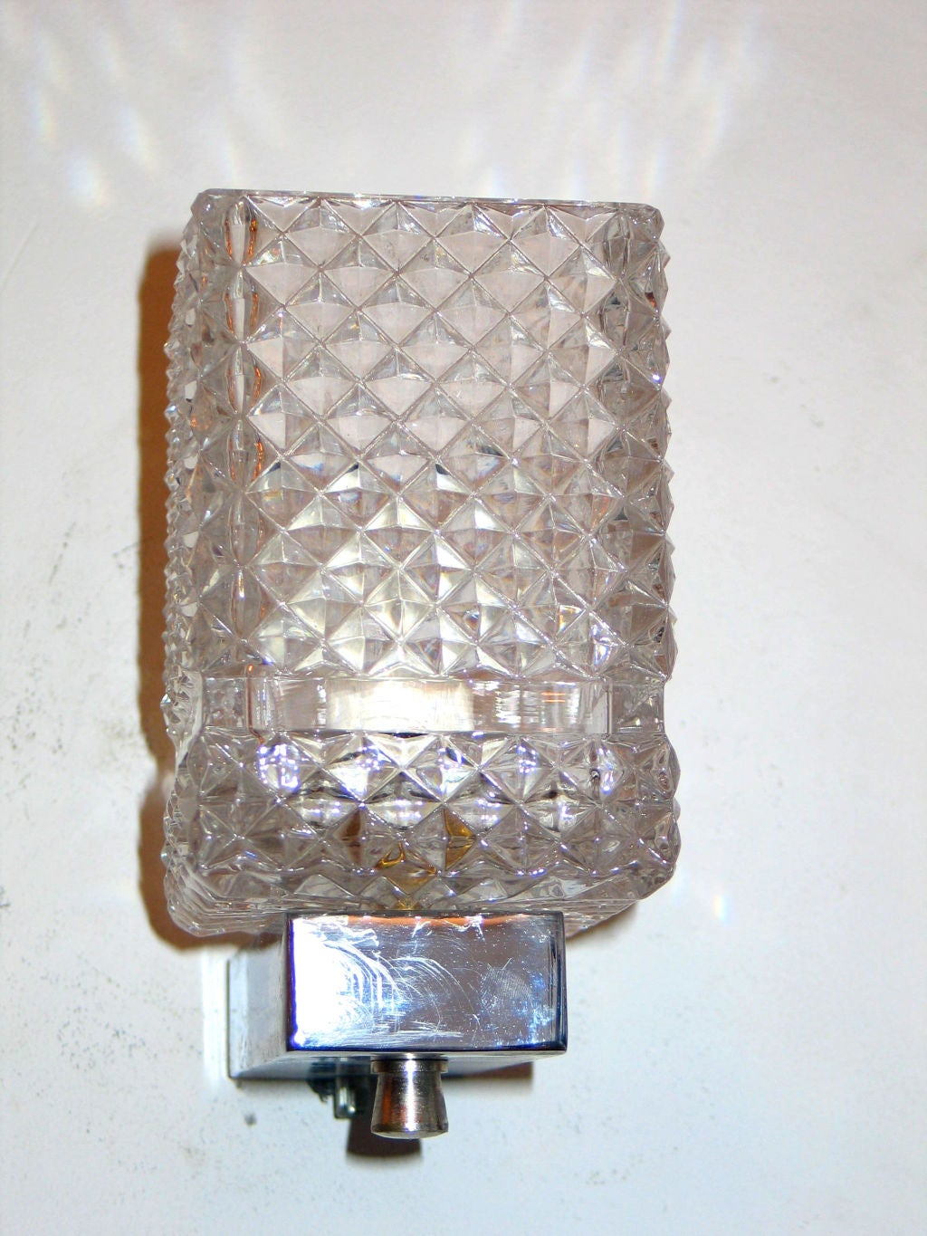Cut Glass Wall Lights : Two Pairs of Italian Cut Glass Sconces For Sale at 1stdibs