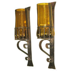 Pair Large Mid-Century Modern Hand Blown Amber Glass & Wrought Iron Wall Sconces