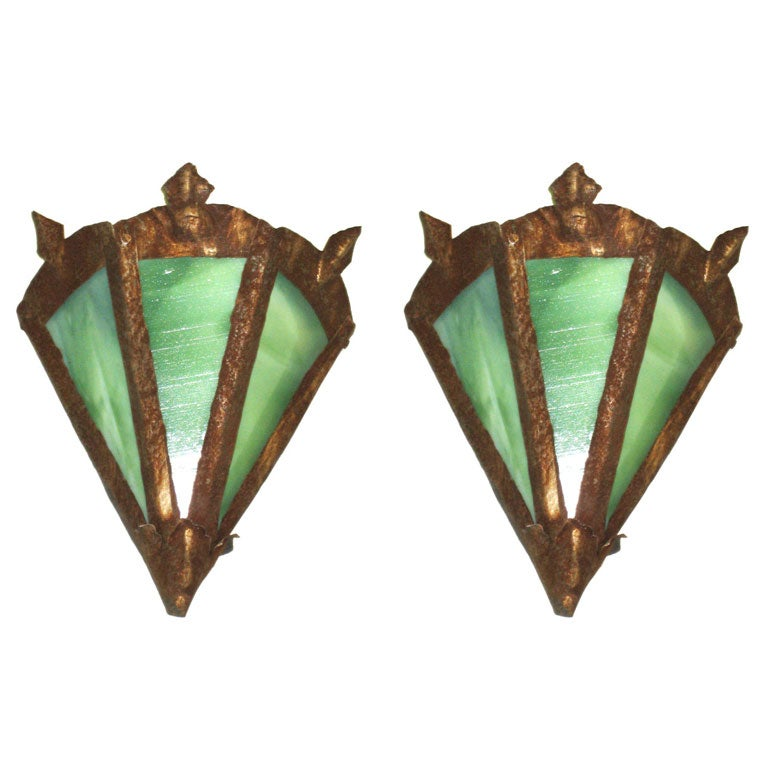Pair of French Early Modern Arts and Crafts Toll and Stain Glass Sconces For Sale
