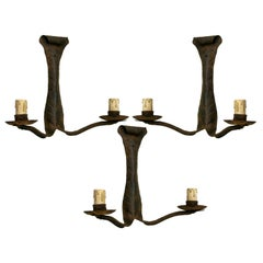 3 French Art Deco Wrought Iron Sconces / Wall Lights