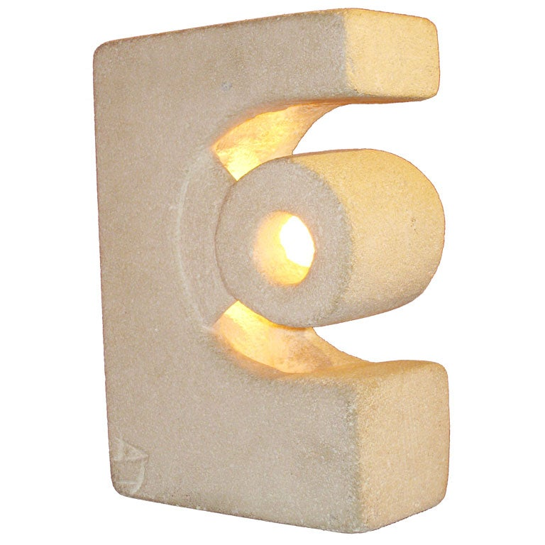 Unique French Mid-Century Modern Limestone Table Lamp / Sculpture by Atelier A