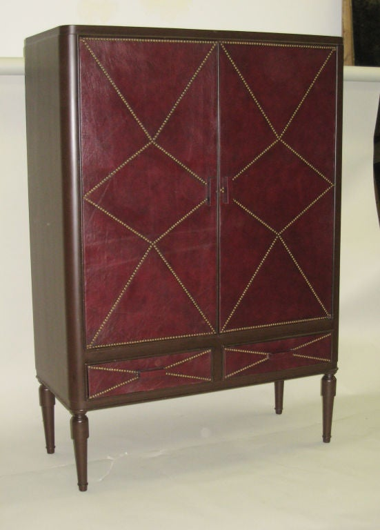 French Art Deco Leather Cabinet in the Manner of Andre Groult, 1930 2
