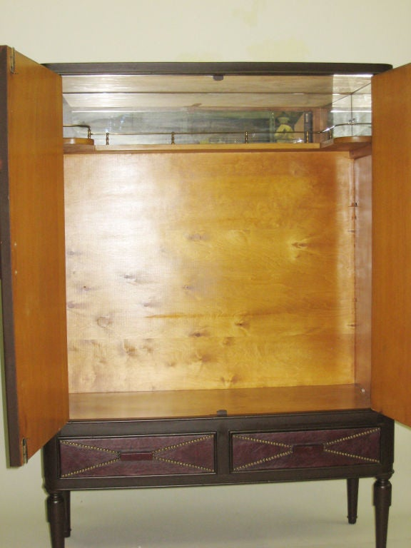 French Art Deco Leather Cabinet in the Manner of Andre Groult, 1930 5