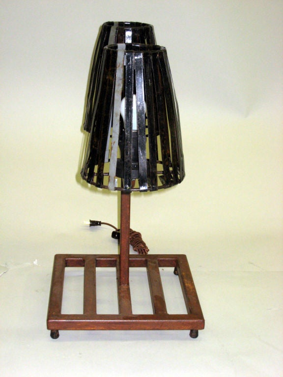 Unique Pair of French Mid-Century Industrial Table Lamps in Style Jean Prouve In Good Condition For Sale In New York, NY