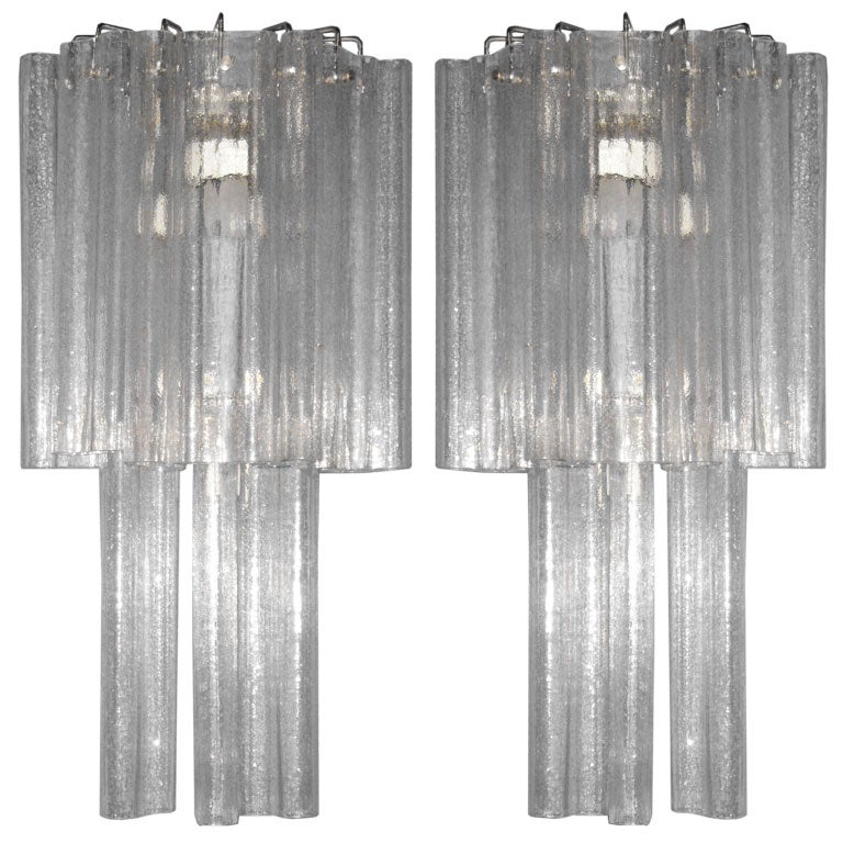 Pair of Large Mid-Century Modern Venetian / Murano Glass Sconces by Venini For Sale