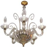 Four-Arm Murano Glass Chandelier Attributed to Barovier