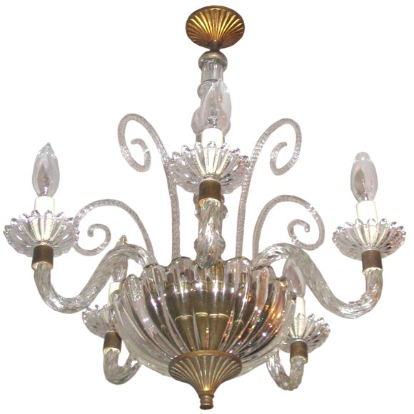Four-Arm Murano Glass Chandelier Attributed to Barovier For Sale