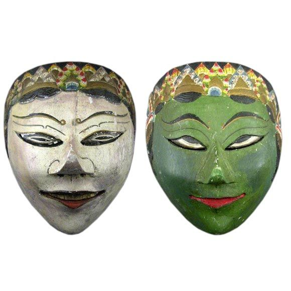 Pair of Indonesian Tribal Masks For Sale