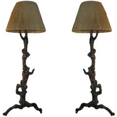 Pair Rare French Mid-Century Primitivist Standing Lamps in Manner of Moreux