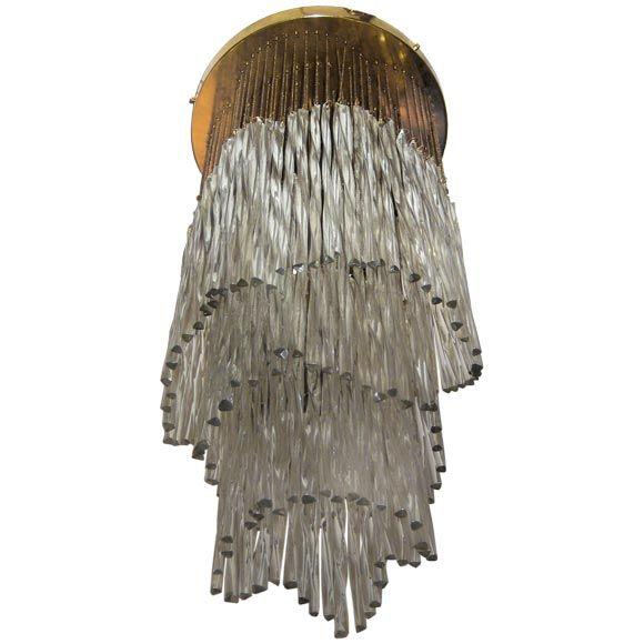 Italian Mid-Century Modern Murano Glass Waterfall Chandelier Attr. to Venini