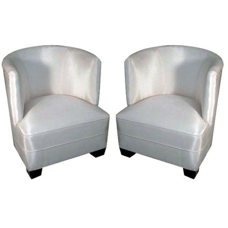 Pair Italian Mid-Century Modern Lounge / Slipper Chairs, Guglielmo Ulrich, 1930