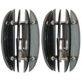 Pair of Italian Mid-Century Modern Green Glass Sconces in Style of Fontana Arte
