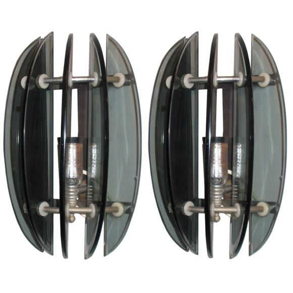 Pair of Italian Mid-Century Modern Green Glass Sconces in Style of Fontana Arte For Sale