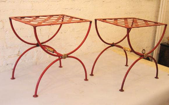 Pair of French 1930s Modern Neoclassical Stools by Jean-Charles Moreux 2