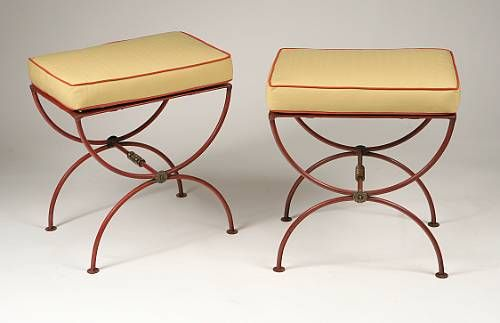 Pair of French 1930s Modern Neoclassical Stools by Jean-Charles Moreux 4