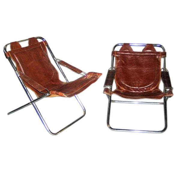 Pair of Collapsible French Mid-Century Modern Leather Lounge Chairs by Lama
