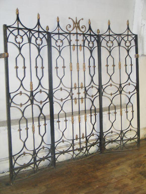 Set Of Belle Epoque 3 Panel Screen Wrought Iron Gates
