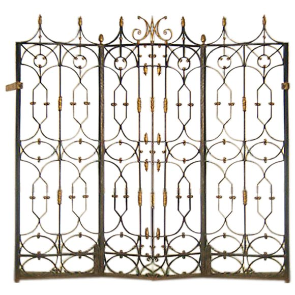 Awesome Set Of U0027Belle Epoqueu0027 3 Panel Screen / Wrought Iron Gates ...