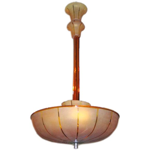 Italian Mid-Century Modern Amber Murano / Venetian Glass Chandelier or Pendant For Sale