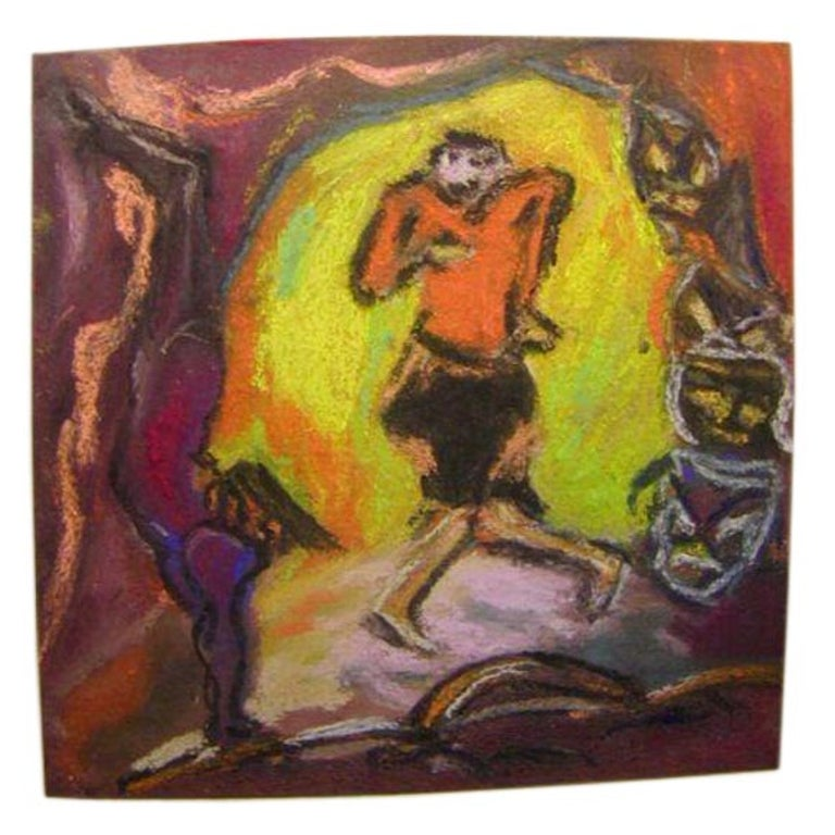 Expressionist Crayon Drawing by Bauhaus Artist Hans Kessler For Sale