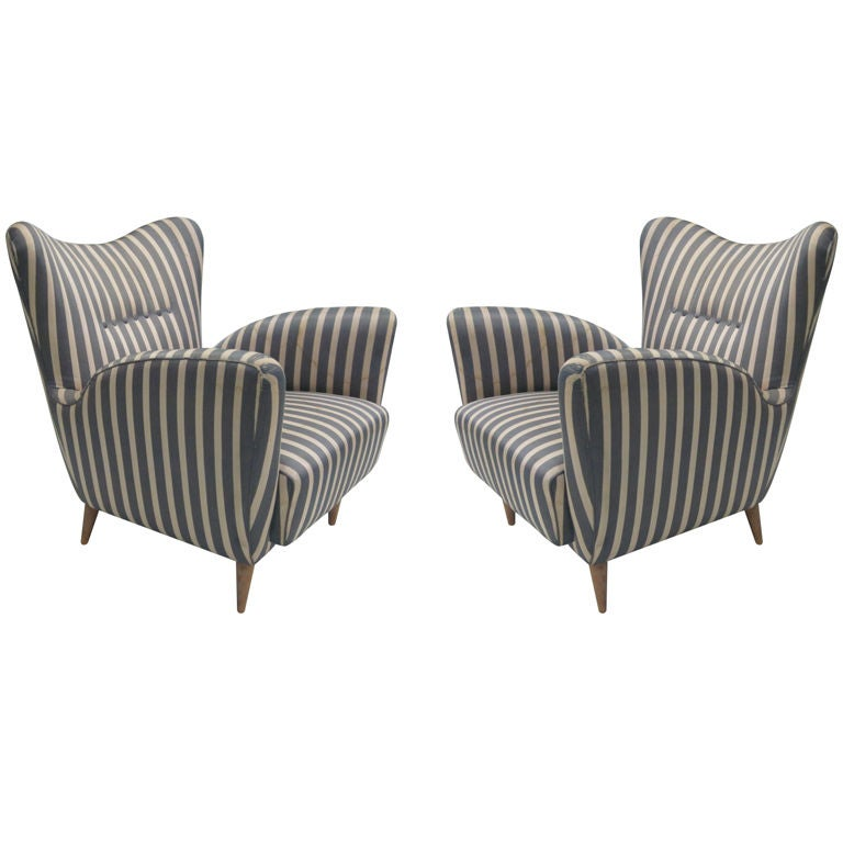 Pair of Italian Mid-Century Lounge Chairs in the Manner of Carlo Mollino 1