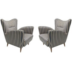 Pair of Italian Mid-Century Lounge Chairs in the Manner of Carlo Mollino