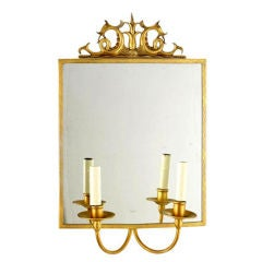 Swedish Modern Neoclassical Gilt Pewter Mirror /Wall Sconce, Carl Bergstrom 1930