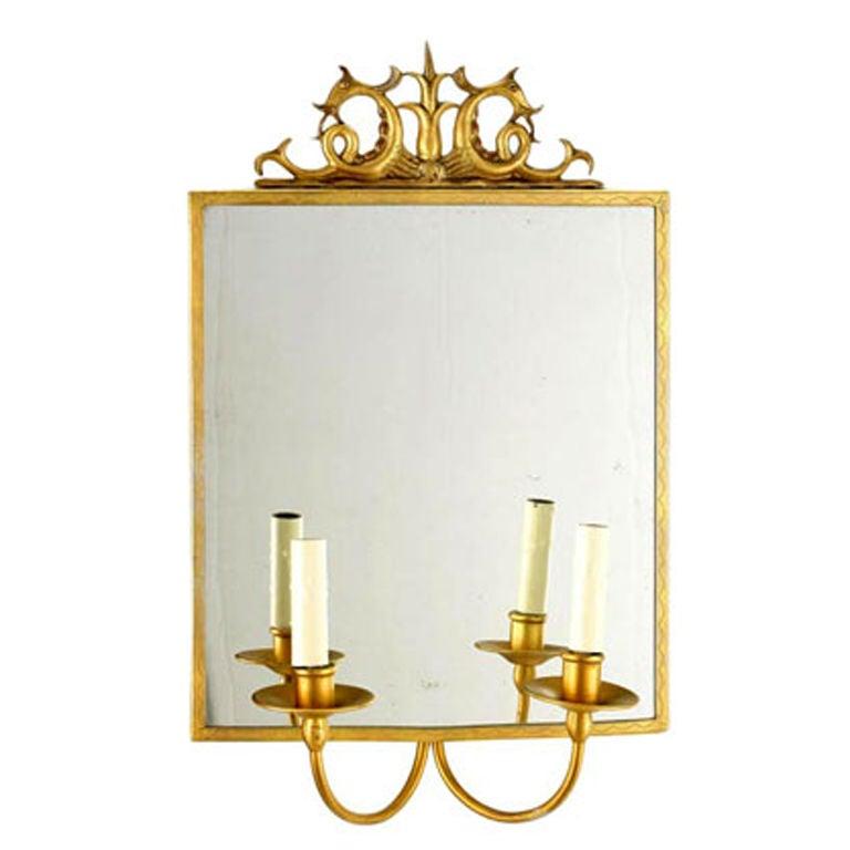 Swedish Modern Neoclassical Gilt Pewter Mirror /Wall Sconce, Carl Bergstrom 1930