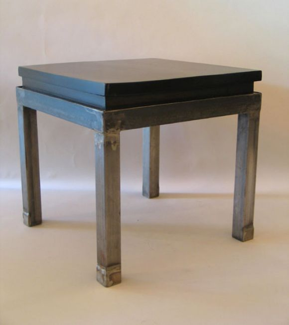 Pair of French 1930s Steel and Mahogany Benches or Side Tables 4