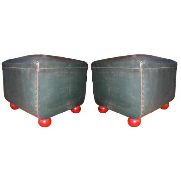 Pair of Italian Early Modern Stools or Ottomans with Red Ball Feet