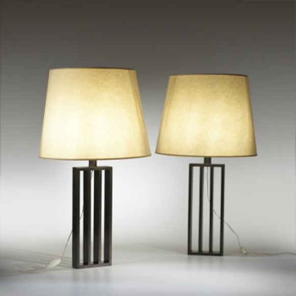 20th Century Pair French Mid-Century Modern Bronzed Iron Table Lamps, Style of Jacques Quinet For Sale