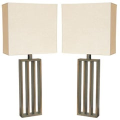 Pair French Mid-Century Modern Bronzed Iron Table Lamps, Style of Jacques Quinet