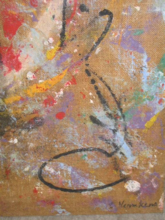 A strong Abstract Expressionist painting composd of oil on raw burlap canvas by the Belgian / Flemish artist A.C. Hermkens from the Abstract Expressionist period with bold color and dynamic energy and movement. The raw canvas upon which it is