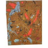 Large Flemish Mid-Century Abstract Expressionist Painting by A.C. Hermkens, 1961