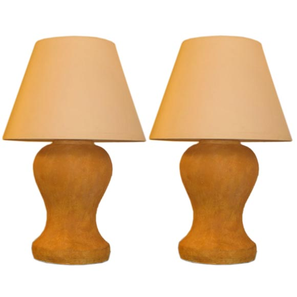 Pair of Modern Neoclassical Plaster Table Lamps after Jean Michel Frank