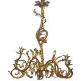 French Gilt Bronze Chandelier in the Rococo Style