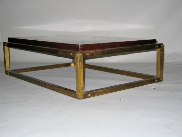 French mid century studded brass cocktail table for sale for Coffee table with studs