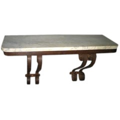French Mid-Century Modern Wrought Iron and Marble Wall Console, 1930