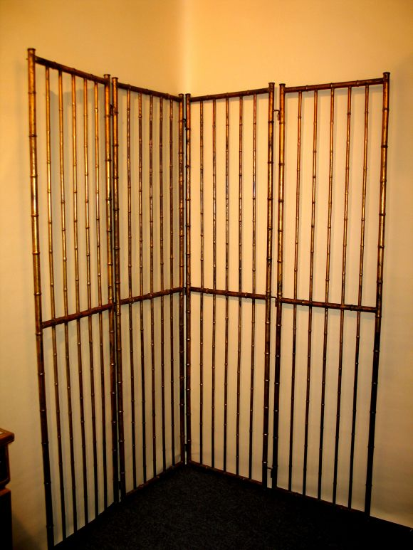 Large French Faux Bamboo Screen Attributed to Baguès 2