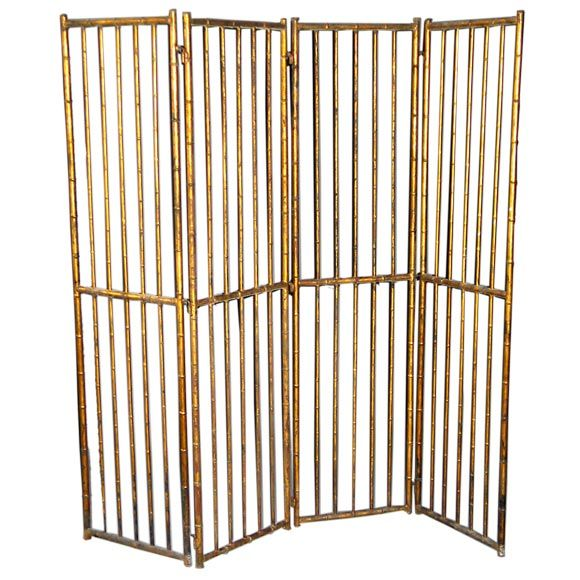 Large French Faux Bamboo Screen Attributed to Baguès 1