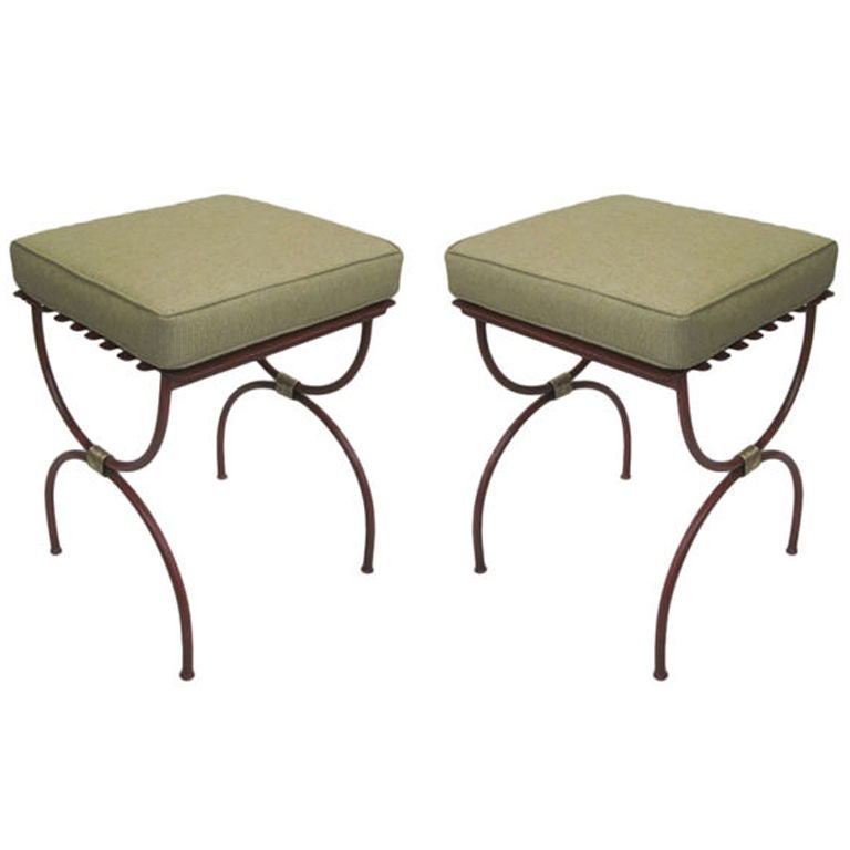 2 Pairs French Modern Neoclassical Iron Side Tables, Luggage Racks, Benches 1940 For Sale 1