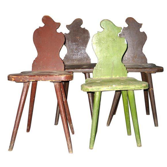 Four Italian Futurist 'Sgabello' Chairs or Stools For Sale