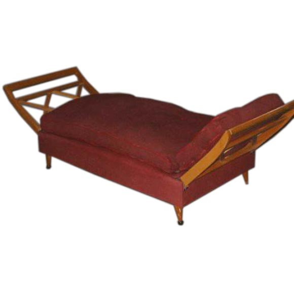 French settee chaise day bed attributed to jean royere for Chaise longue bed